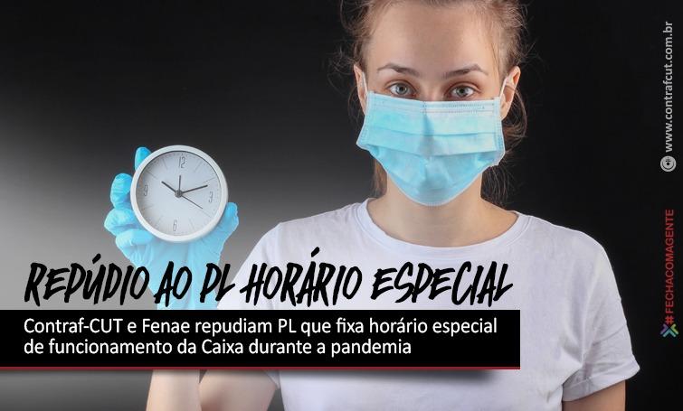 Imagem:Contraf-CUT e Fenae repudiam PL que fixa horário especial de funcionamento da Caixa durante a pandemia