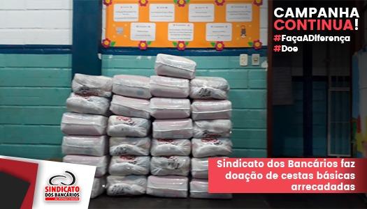 Imagem:Sindicato dos Bancários entrega cestas arrecadas junto à categoria